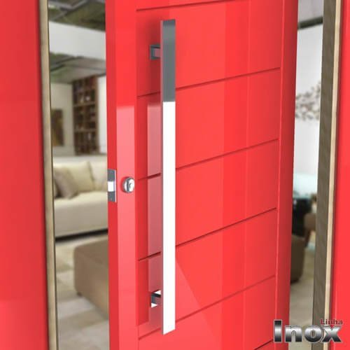 Puxador Para Portas Duplo INOX POLIDO (GRAND CLEAN) Tam. 80 CM. Para portas Pivotante /Madeira /Vidro/Alumínio.  - Loja do Puxador