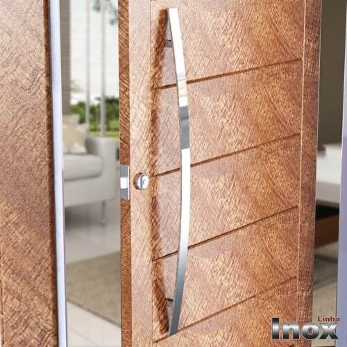 Puxador Para Portas Duplo INOX POLIDO (LUGUI) Tam. 60 CM. Para portas Pivotante /Madeira /Vidro/Alumínio.  - Loja do Puxador