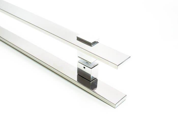 Puxador Para Portas Duplo INOX POLIDO (LUMA) Tam. 1,2MT. Para portas Pivotante /Madeira /Vidro/Alumínio.  - Loja do Puxador