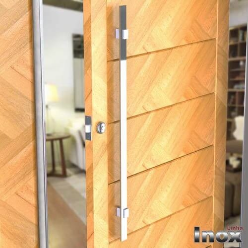 Puxador Para Portas Duplo INOX POLIDO (LUMA) Tam.1MT. Para portas Pivotante /Madeira /Vidro/Alumínio.  - Loja do Puxador