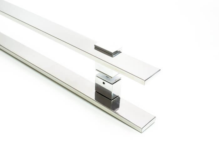 Puxador Para Portas Duplo INOX POLIDO (LUMA) Tam. 60 CM. Para portas Pivotante /Madeira /Vidro/Alumínio.  - Loja do Puxador