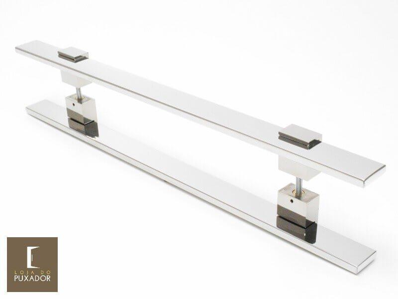 Puxador Para Portas Duplo INOX POLIDO (LUMA) Tam. 80 CM. Para portas Pivotante /Madeira /Vidro/Alumínio.