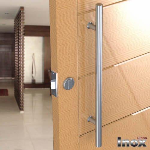 Puxador Para Portas Duplo INOX POLIDO (SOFT) Tam. 40 CM. Para portas Pivotante /Madeira /Vidro/Alumínio.  - Loja do Puxador