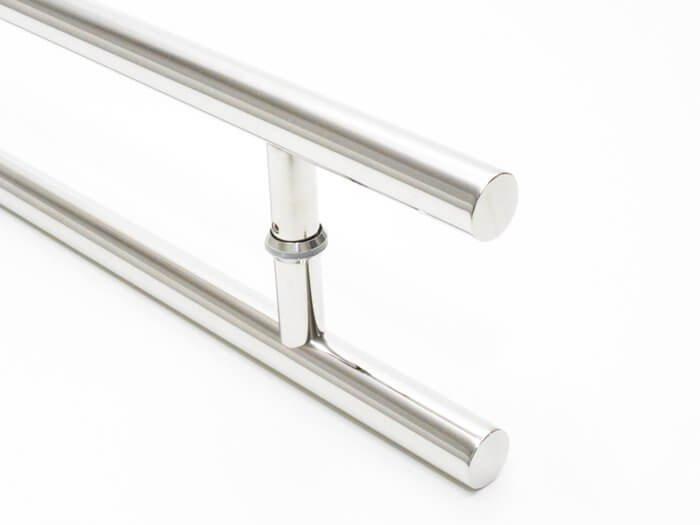 Puxador Para Portas Duplo INOX POLIDO (SOFT) Tam. 80 CM. Para portas Pivotante /Madeira /Vidro/Alumínio.  - Loja do Puxador