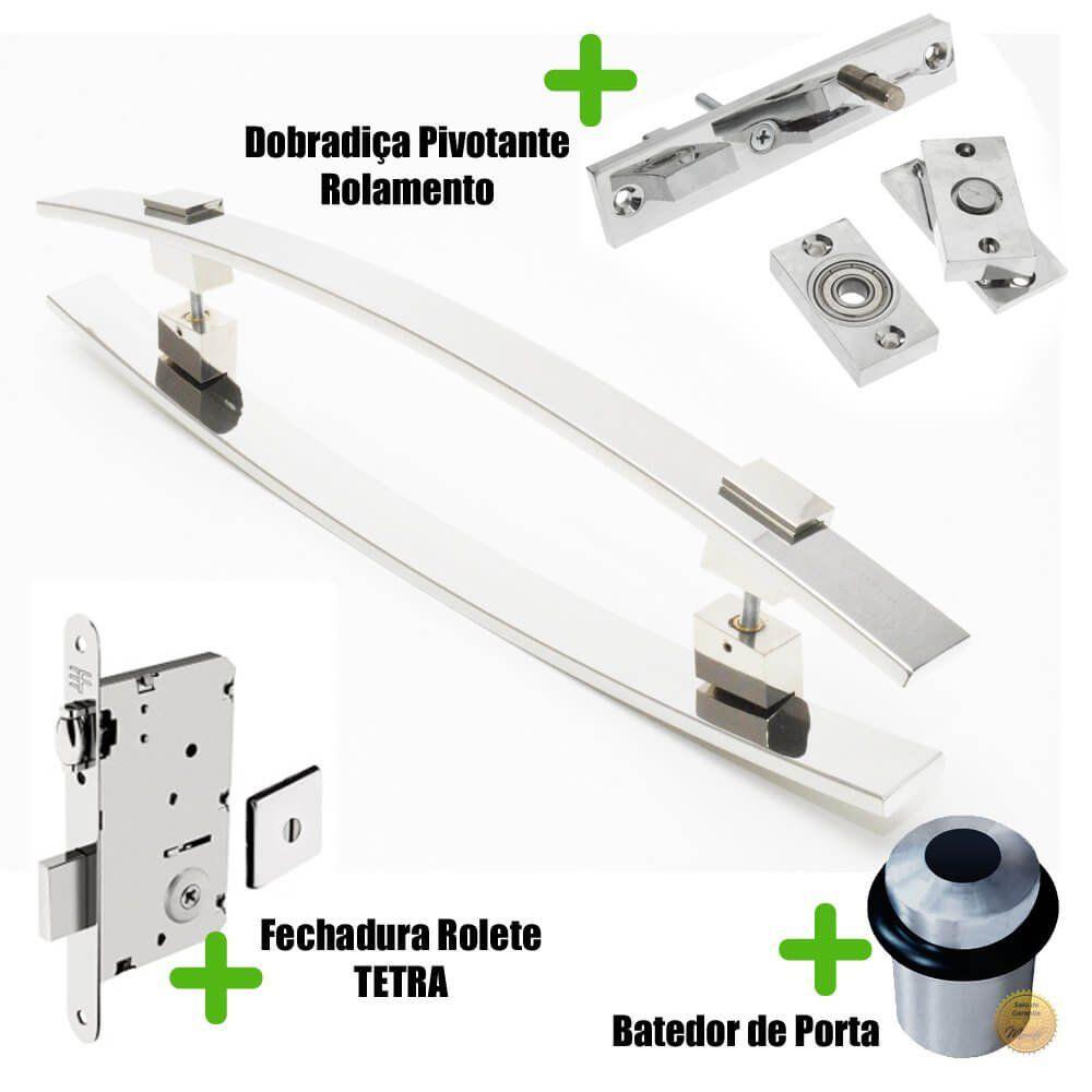 Puxador Porta (ALBA) Aço Inox Polido + fechadura rolete Tetra  inox polido +Batedor de porta polido +Dobradiça pivotante rolamento 100kg  - Loja do Puxador