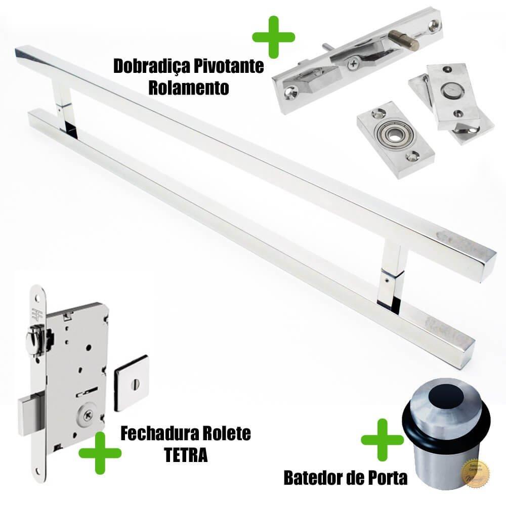 Puxador Porta (ARISTOCRATA) Aço Inox Polido + fechadura rolete Tetra  inox polido +Batedor de porta polido +Dobradiça pivotante rolamento 100kg  - Loja do Puxador