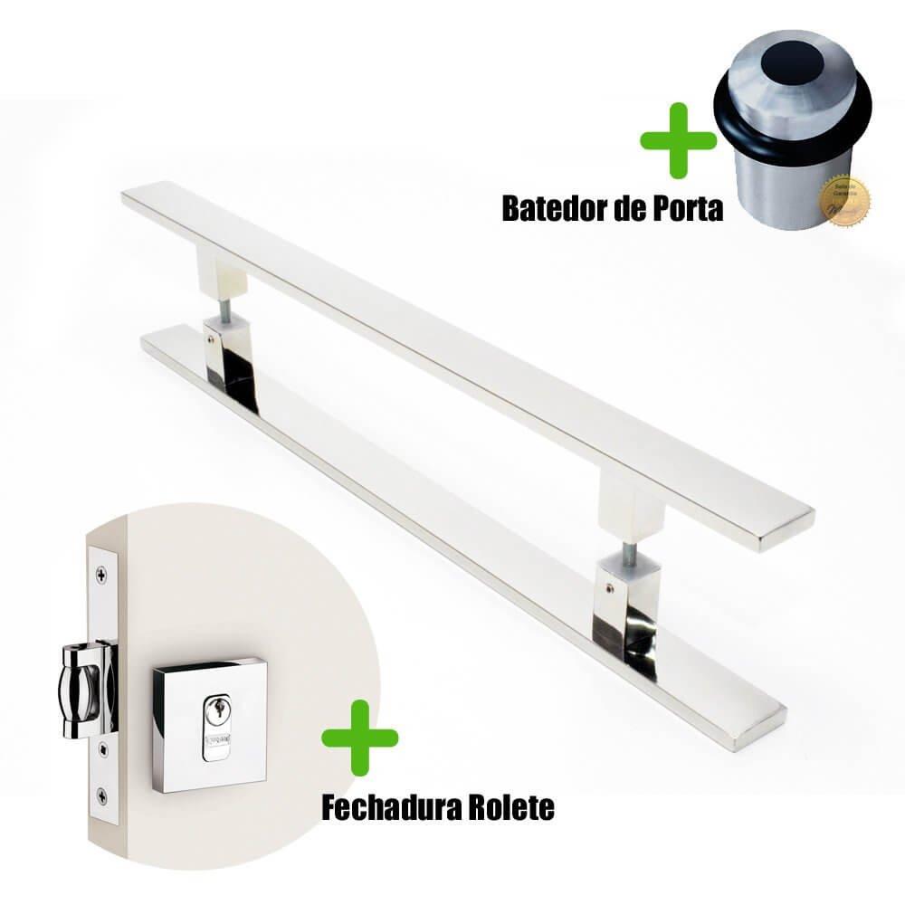 Puxador Porta (CLEAN) Aço Inox Polido + fechadura rolete inox polido +Batedor de porta polido