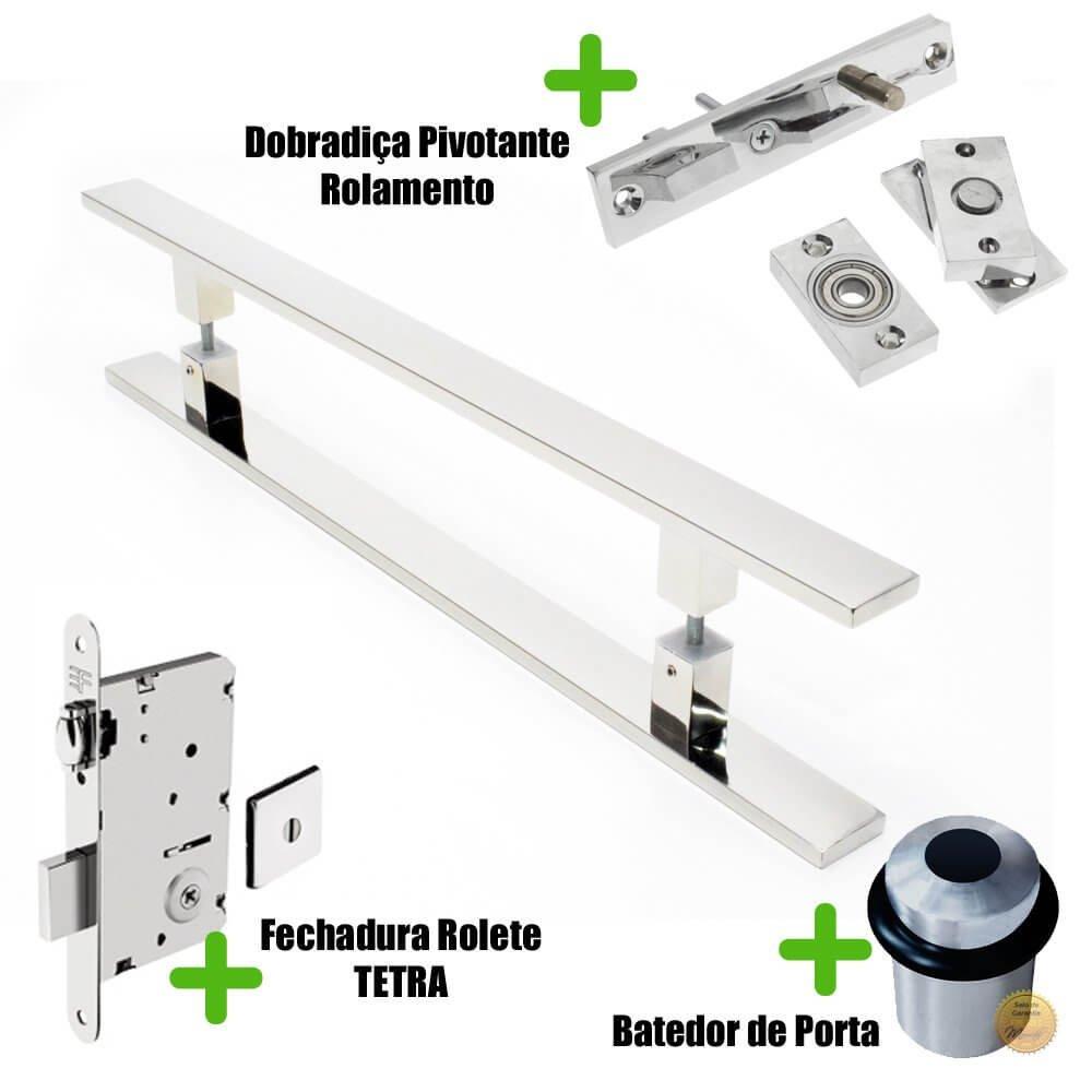 Puxador Porta (CLEAN) Aço Inox Polido + fechadura rolete Tetra  inox polido +Batedor de porta polido +Dobradiça pivotante rolamento 100kg  - Loja do Puxador