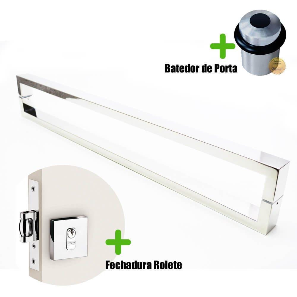 Puxador Porta (GRECO) Aço Inox Polido + fechadura rolete inox polido +Batedor de porta polido