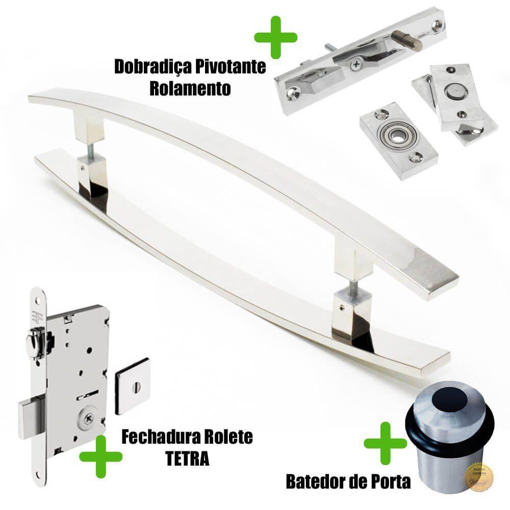 Puxador Porta (LUGUI) Aço Inox Polido + fechadura rolete Tetra  inox polido +Batedor de porta polido +Dobradiça pivotante rolamento 100kg  - Loja do Puxador