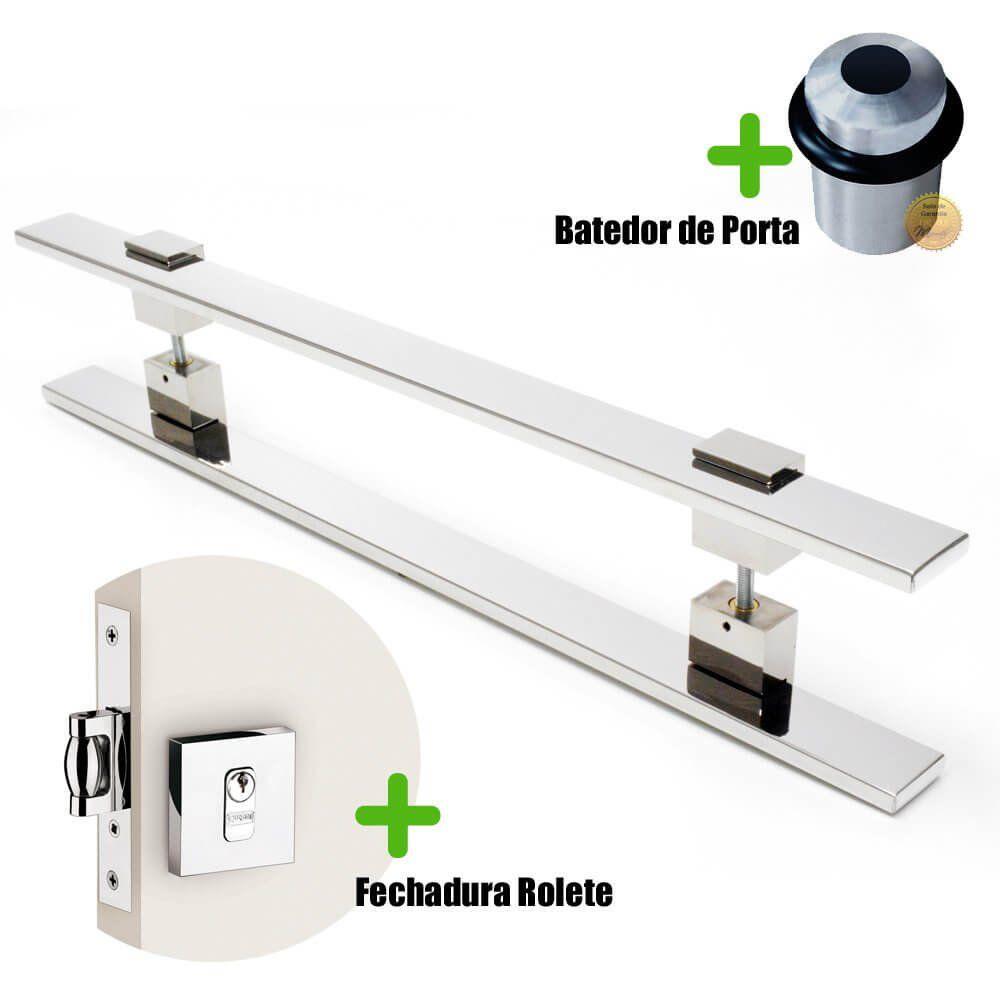 Puxador Porta (LUMA) Aço Inox Polido + fechadura rolete inox polido +Batedor de porta polido  - Loja do Puxador