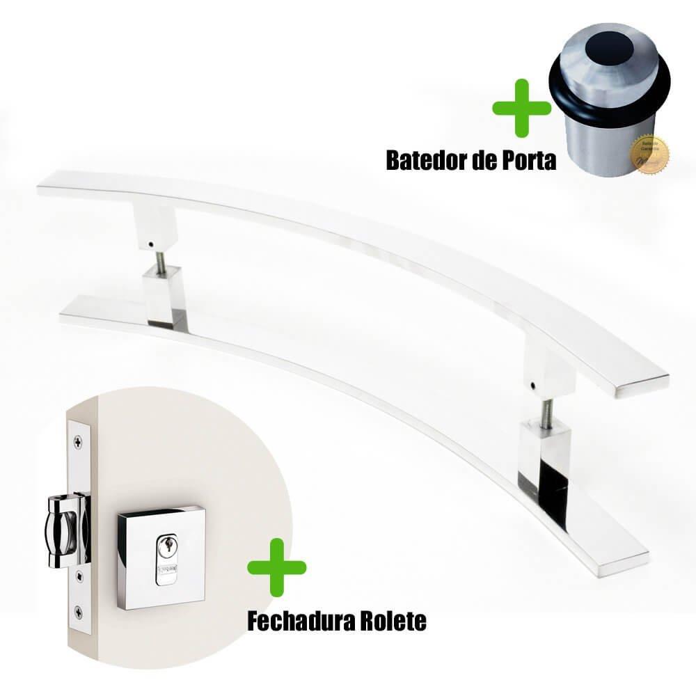 Puxador Porta (NOVITÁ) Aço Inox Polido + fechadura rolete inox polido +Batedor de porta polido  - Loja do Puxador