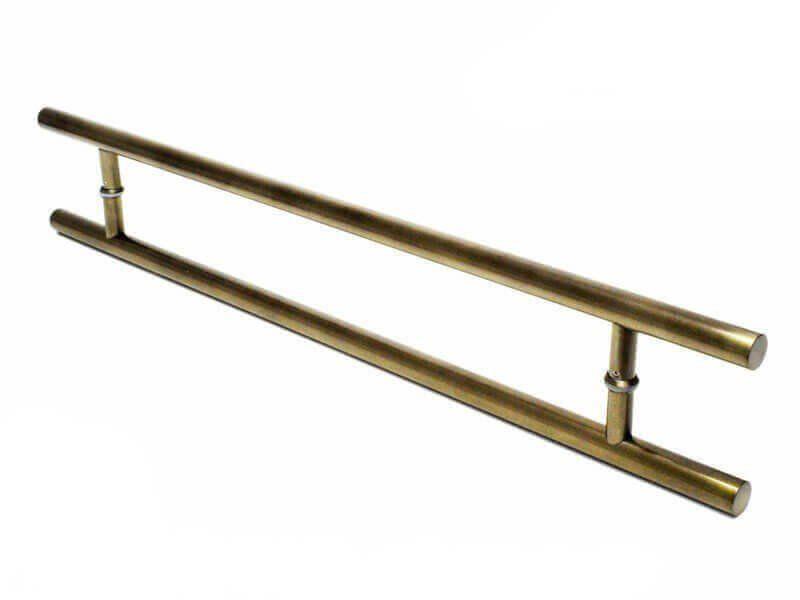 KIT Puxador Porta (SOFT) Aço Inox ouro velho + fechadura rolete pivotante ouro velho antique +Batedor/amortecedor porta ouro velho   - Loja do Puxador