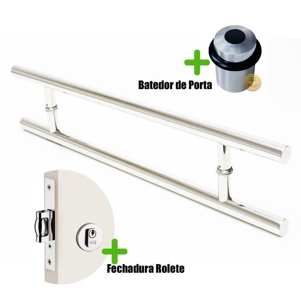 Puxador Porta (SOFT) Aço Inox Polido + fechadura rolete inox polido +Batedor de porta polido  - Loja do Puxador