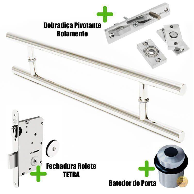 Puxador Porta (SOFT) Aço Inox Polido + fechadura rolete tetra inox polido +Batedor de porta polido +dobradiça pivotante rolamento 100kg  - Loja do Puxador