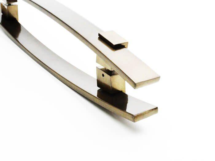 Puxador Portas Duplo Aço Inox Antique Ouro Velho Alba 1,1 m para portas: pivotantes/madeira/vidro temperado/porta alumínio e portões   - Loja do Puxador