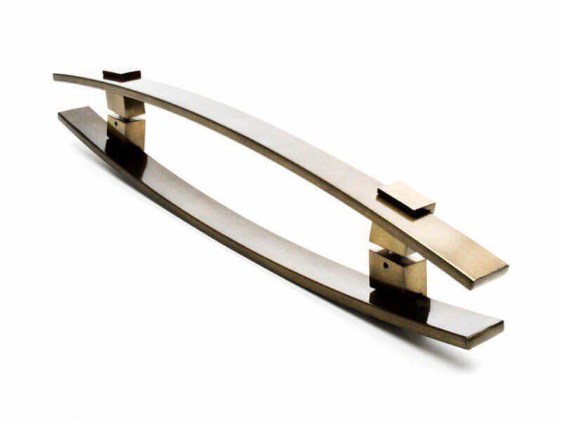 Puxador Portas Duplo Aço Inox Antique Ouro Velho Alba 1,2 m para portas: pivotantes/madeira/vidro temperado/porta alumínio e portões   - Loja do Puxador