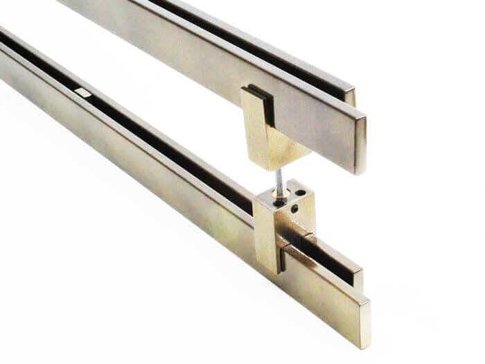 Puxador Portas Duplo Aço Inox Antique Ouro Velho Aquarius 1,8 m para portas: pivotantes/madeira/vidro temperado/porta alumínio e portões  - Loja do Puxador