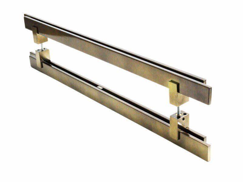 Puxador Portas Duplo Aço Inox Antique Ouro Velho Aquarius 3 m para portas: pivotantes/madeira/vidro temperado/porta alumínio e portões  - Loja do Puxador