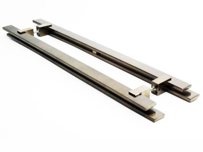 Puxador Portas Duplo Aço Inox Antique Ouro Velho Aquarius 60 cm para portas: pivotantes/madeira/vidro temperado/porta alumínio e portões  - Loja do Puxador