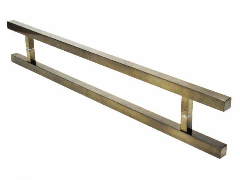 Puxador Portas Duplo Aço Inox Antique Ouro Velho Aristocrata 60 cm para portas: pivotantes/madeira/vidro temperado/porta alumínio e portões   - Loja do Puxador