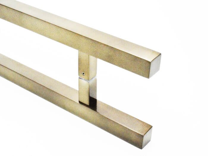 Puxador Portas Duplo Aço Inox Antique Ouro Velho Aristocrata 80 cm para portas: pivotantes/madeira/vidro temperado/porta alumínio e portões   - Loja do Puxador