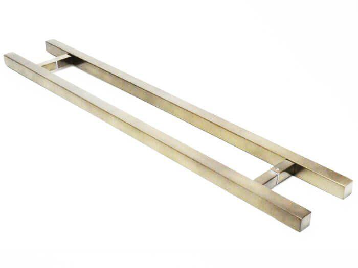 Puxador Portas Duplo Aço Inox Antique Ouro Velho Aristocrata 90 cm para portas: pivotantes/madeira/vidro temperado/porta alumínio e portões   - Loja do Puxador