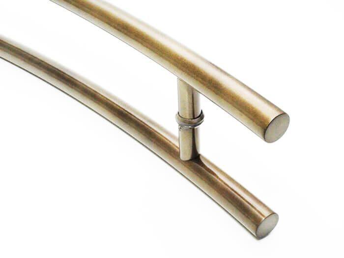 Puxador Portas Duplo Aço Inox Antique Ouro Velho Belissima 1,2 m para portas: pivotantes/madeira/vidro temperado/porta alumínio e portões   - Loja do Puxador