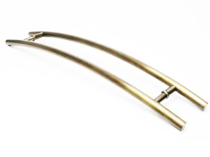 Puxador Portas Duplo Aço Inox Antique Ouro Velho Belissima 1 m para portas: pivotantes/madeira/vidro temperado/porta alumínio e portões   - Loja do Puxador