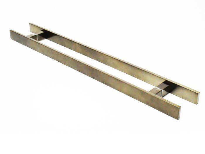 Puxador Portas Duplo Aço Inox Antique Ouro Velho Clean 30 cm para portas: pivotantes/madeira/vidro temperado/porta alumínio e portões   - Loja do Puxador