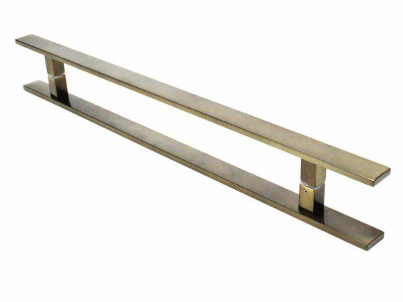Puxador Portas Duplo Aço Inox Antique Ouro Velho Clean 40 cm para portas: pivotantes/madeira/vidro temperado/porta alumínio e portões   - Loja do Puxador