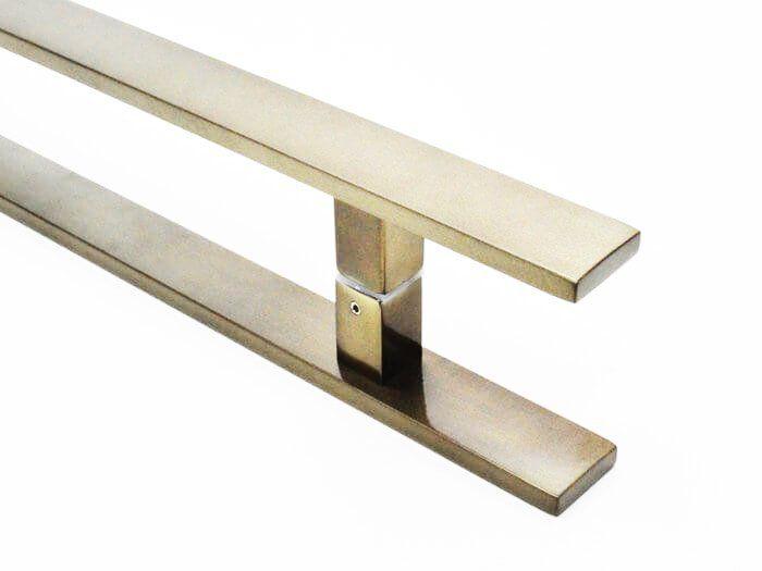 Puxador Portas Duplo Aço Inox Antique Ouro Velho Clean 80 cm para portas: pivotantes/madeira/vidro temperado/porta alumínio e portões  - Loja do Puxador