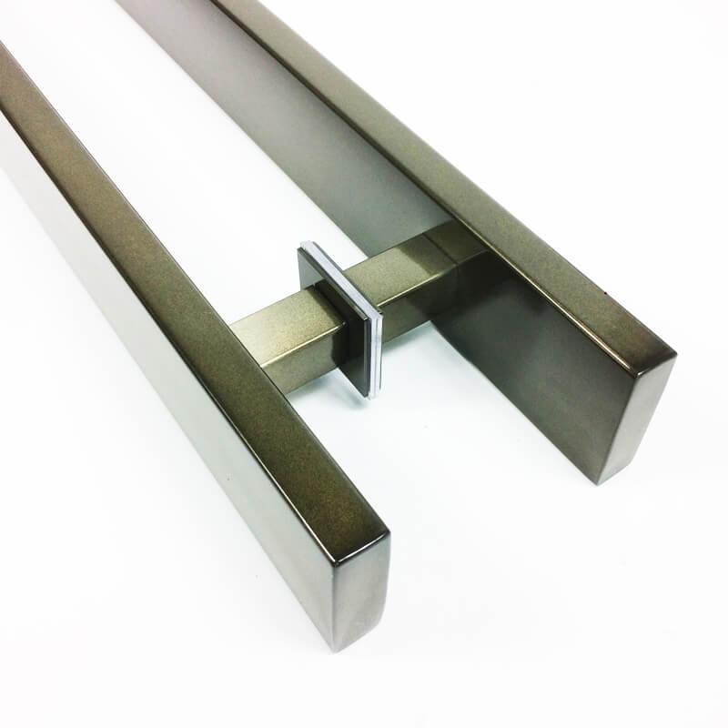 Puxador Portas Duplo Aço Inox Antique Ouro Velho Grand Clean 1,1 m para portas: pivotantes/madeira/vidro temperado/porta alumínio e portões   - Loja do Puxador
