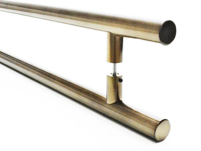 Puxador Portas Duplo Aço Inox Antique Ouro Velho Grand Soft 50 cm para portas: pivotantes/madeira/vidro temperado/porta alumínio e portões   - Loja do Puxador