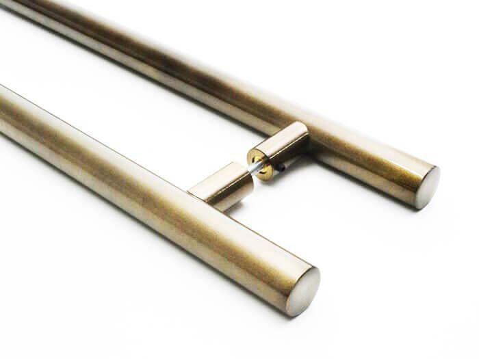 Puxador Portas Duplo Aço Inox Antique Ouro Velho Grand Soft 60 cm para portas: pivotantes/madeira/vidro temperado/porta alumínio e portões   - Loja do Puxador