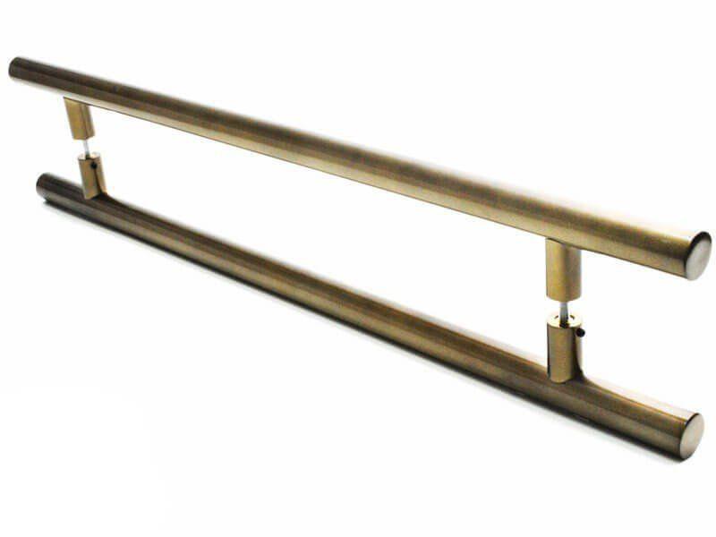 Puxador Portas Duplo Aço Inox Antique Ouro Velho Grand Soft 70 cm para portas: pivotantes/madeira/vidro temperado/porta alumínio e portões   - Loja do Puxador