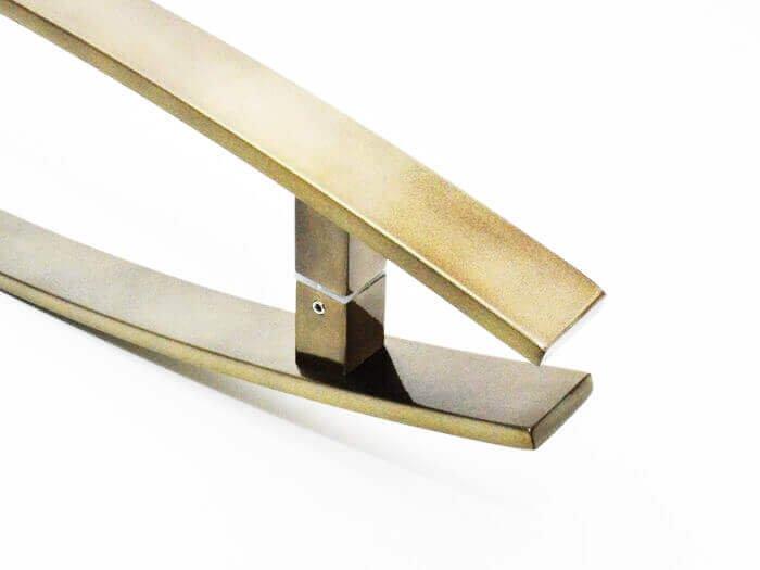Puxador Portas Duplo Aço Inox Antique Ouro Velho Lugui 1 m para portas: pivotantes/madeira/vidro temperado/porta alumínio e portões   - Loja do Puxador