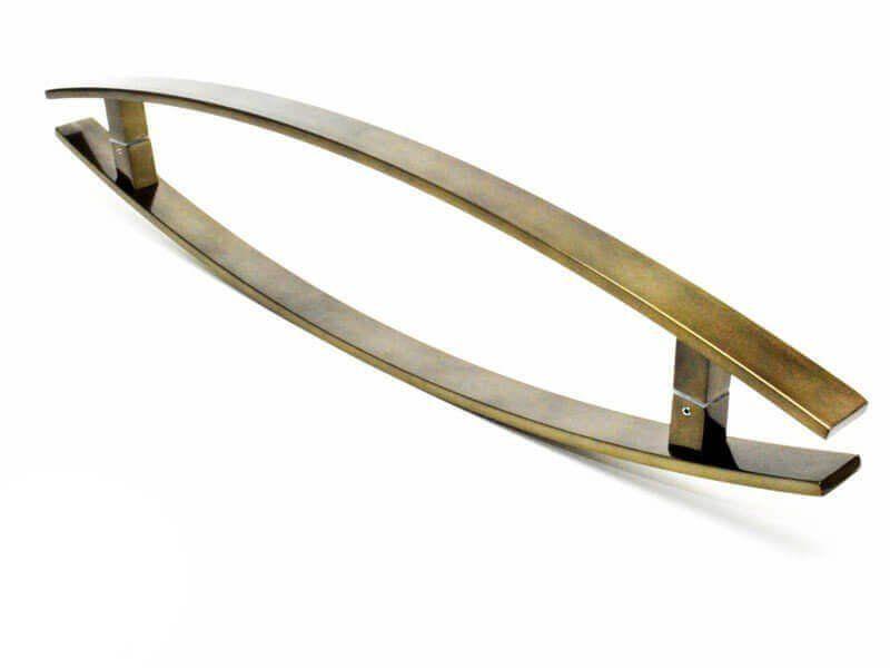 Puxador Portas Duplo Aço Inox Antique Ouro Velho Lugui 40 cm para portas: pivotantes/madeira/vidro temperado/porta alumínio e portões   - Loja do Puxador