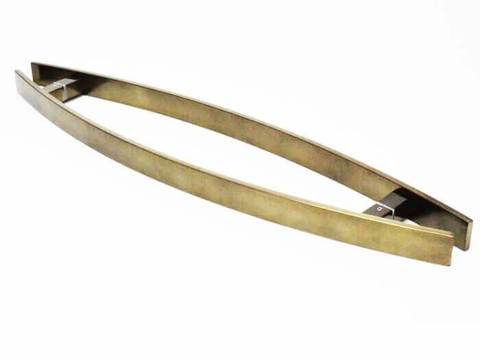 Puxador Portas Duplo Aço Inox Antique Ouro Velho Lugui 70 cm para portas: pivotantes/madeira/vidro temperado/porta alumínio e portões   - Loja do Puxador