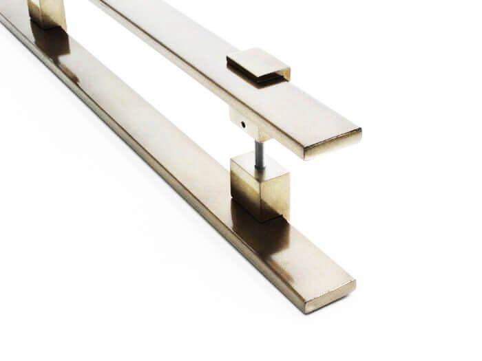 Puxador Portas Duplo Aço Inox Antique Ouro Velho Luma 2 m para portas: pivotantes/madeira/vidro temperado/porta alumínio e portões   - Loja do Puxador