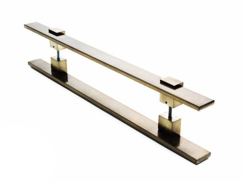 Puxador Portas Duplo Aço Inox Antique Ouro Velho Luma 50 cm para portas: pivotantes/madeira/vidro temperado/porta alumínio e portões   - Loja do Puxador