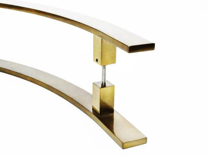 Puxador Portas Duplo Aço Inox Antique Ouro Velho Novita 1,2 m para portas: pivotantes/madeira/vidro temperado/porta alumínio e portões.   - Loja do Puxador