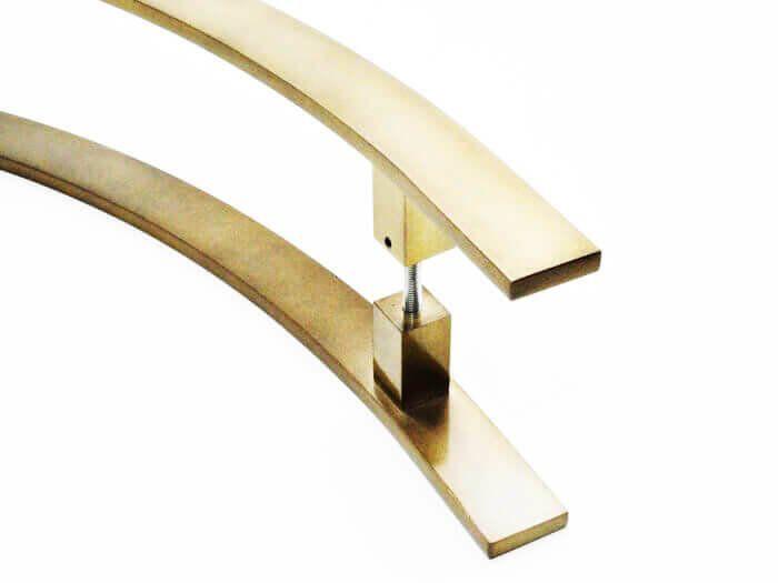 Puxador Portas Duplo Aço Inox Antique Ouro Velho Novita 1,5 m para portas: pivotantes/madeira/vidro temperado/porta alumínio e portões.   - Loja do Puxador