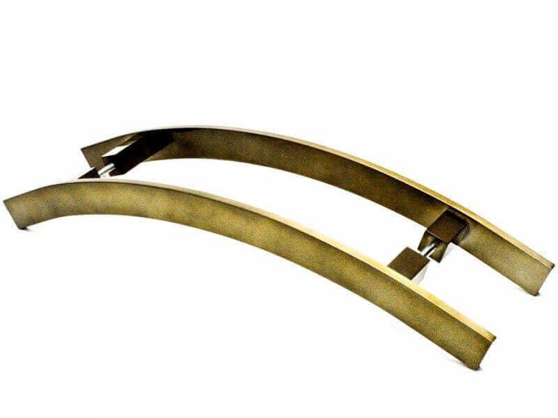 Puxador Portas Duplo Aço Inox Antique Ouro Velho Novita 1 m para portas: pivotantes/madeira/vidro temperado/porta alumínio e portões.   - Loja do Puxador
