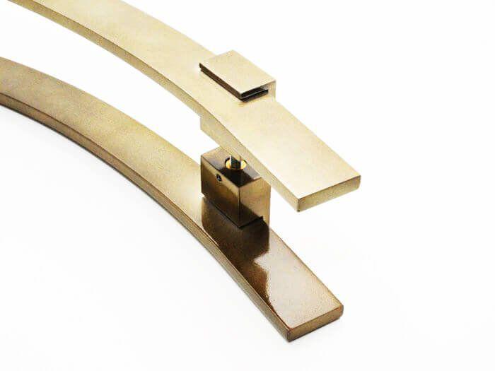 Puxador Portas Duplo Aço Inox Antique Ouro Velho Paola 1,2 m para portas: pivotantes/madeira/vidro temperado/porta alumínio e portões.  - Loja do Puxador