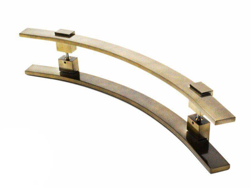 Puxador Portas Duplo Aço Inox Antique Ouro Velho Paola 90 cm para portas: pivotantes/madeira/vidro temperado/porta alumínio e portões.  - Loja do Puxador