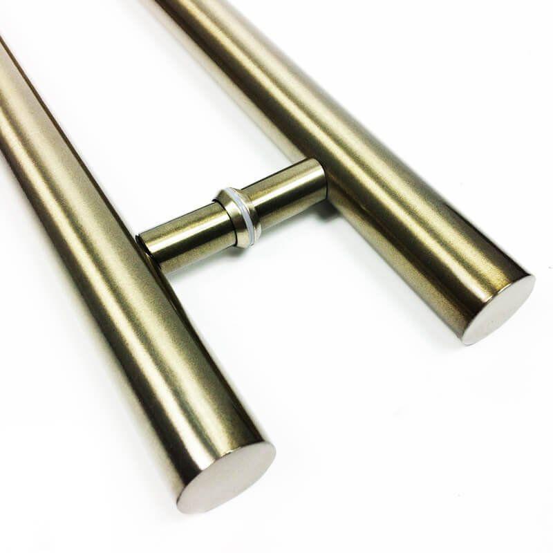Puxador Portas Duplo Aço Inox Antique Ouro Velho Pleno 1 m para portas: pivotantes/madeira/vidro temperado/porta alumínio e portões  - Loja do Puxador