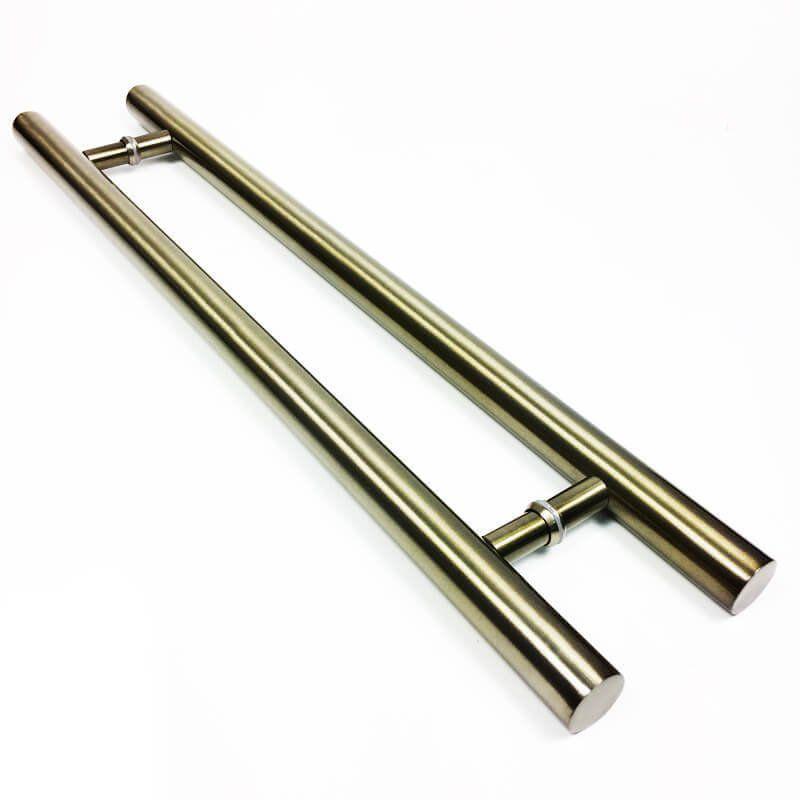 Puxador Portas Duplo Aço Inox Antique Ouro Velho Pleno 3 m para portas: pivotantes/madeira/vidro temperado/porta alumínio e portões  - Loja do Puxador