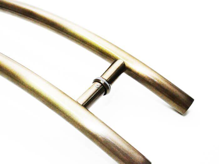 Puxador Portas Duplo Aço Inox Antique Ouro Velho Safira 1,1 m para portas: pivotantes/madeira/vidro temperado/porta alumínio e portões   - Loja do Puxador