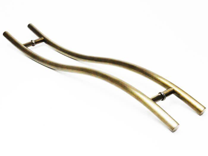 Puxador Portas Duplo Aço Inox Antique Ouro Velho Safira 80 cm para portas: pivotantes/madeira/vidro temperado/porta alumínio e portões   - Loja do Puxador